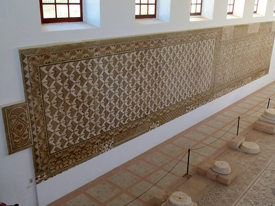 Further mosaics on the wall of the Museum at Sabratha.
