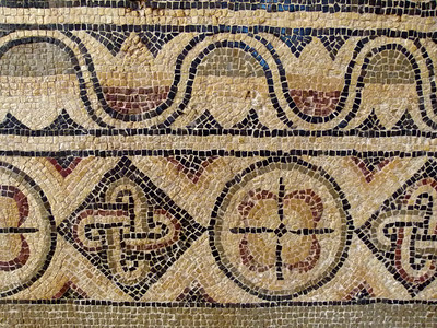 A fine example of mosaic in the Museum at Sabratha.