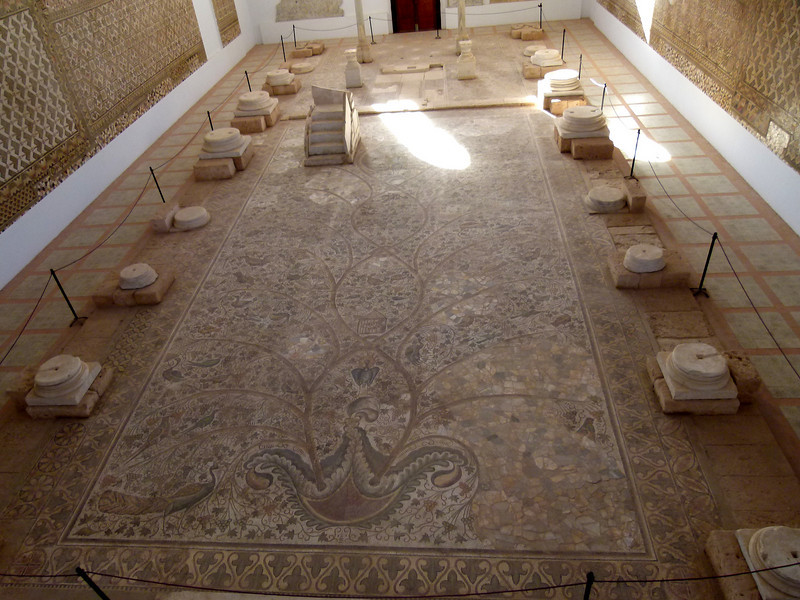"Looking at the major ""mosaic"" carpet from the viewing platform within the Museum."