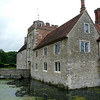 Ightham Mote - the gatehouse tower and west front, with the south front on the right.