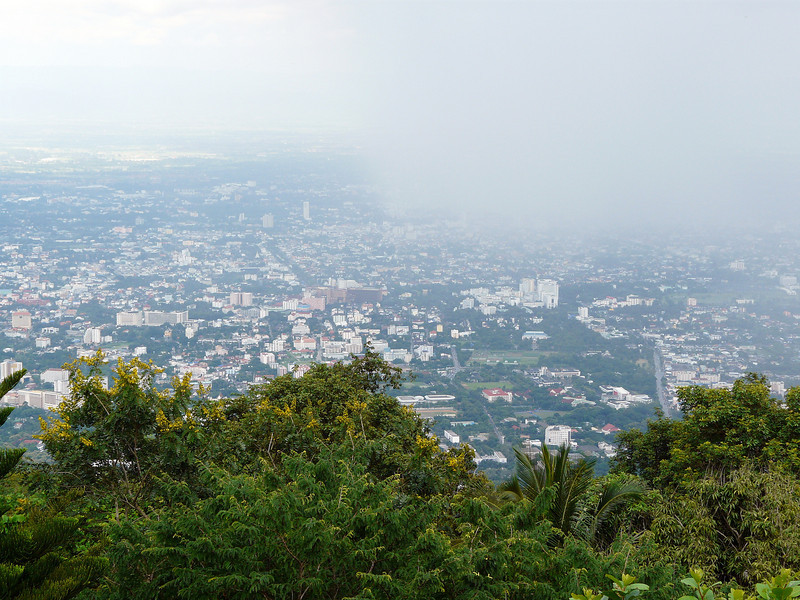 View from Wat Phra That Doi Suthep Temple complex, looking towards Chiang Mai.  Sadly, not the best day for viewing....but at least it wasn't raining!