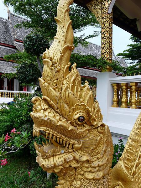 Close up of dragon on protection detail at Wat Chiang Man Temple.