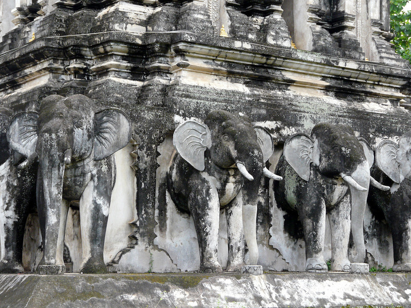 Close up of some of the elephants at the base of the chedi at Wat Chiang Man Temple.