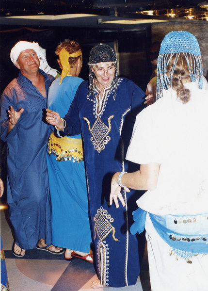 SP (in blue galabria) dancing at the dress up party on the Nile Cruise.