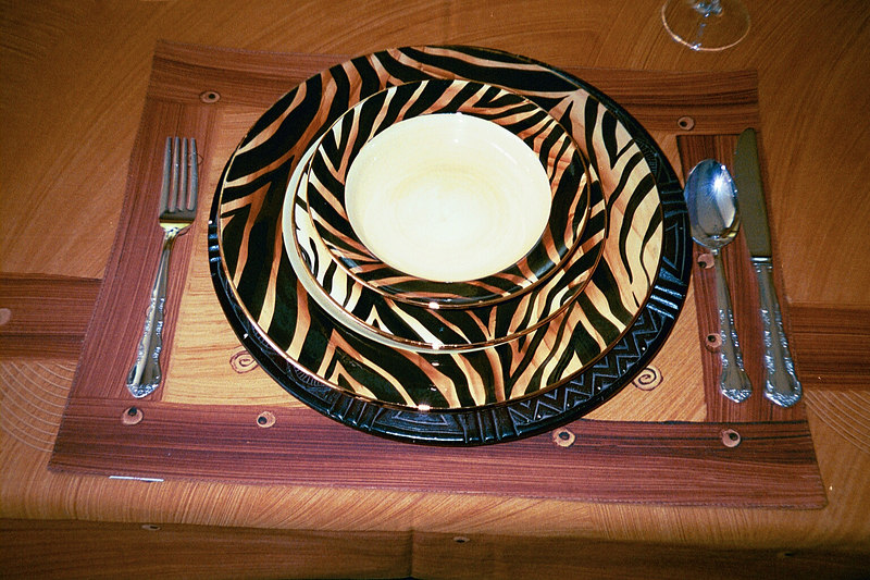 Close up of dinner service purchased in Cape Town at the start of our CTC 2003 trip.
