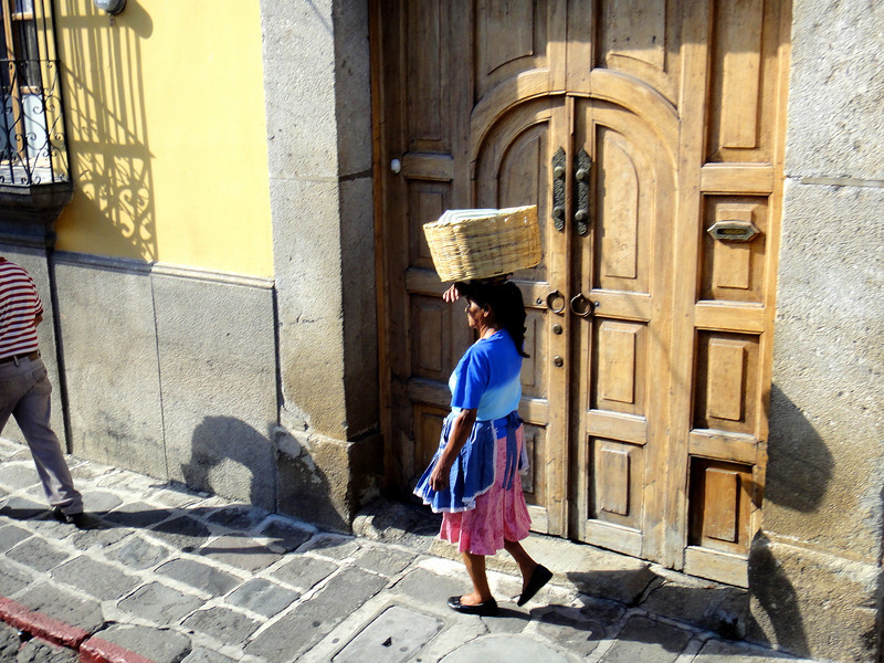 Monday, 20th February 2012 - Driving through the streets of Antigua en route to our hotel.
