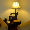 Suite 104 at Hotel Camino Real, Antigua.  An old sewing machine is recycled as a lamp base.  Very innovative.