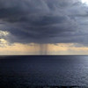 Rain at sea off Iorana Hotel, Easter Island.
