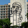 Monumental image on Cuban Ministry of the Interior, based on Irish artist Jim Fitzpatrick's graphic of Alberto Korda's March 1960 photo of Che Guevara. During Guevara's tenure as Minister of the Ministry of Industries (MININD) from 1961 to 1965, this building was the MININD's headquarters and his office was on the top floor.