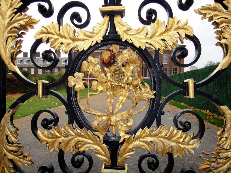 Detail of main gate at Kensington Palace.