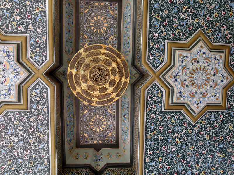 Detail of roof at front entrance of the Palmeraie Golf Palace, Marrakech.
