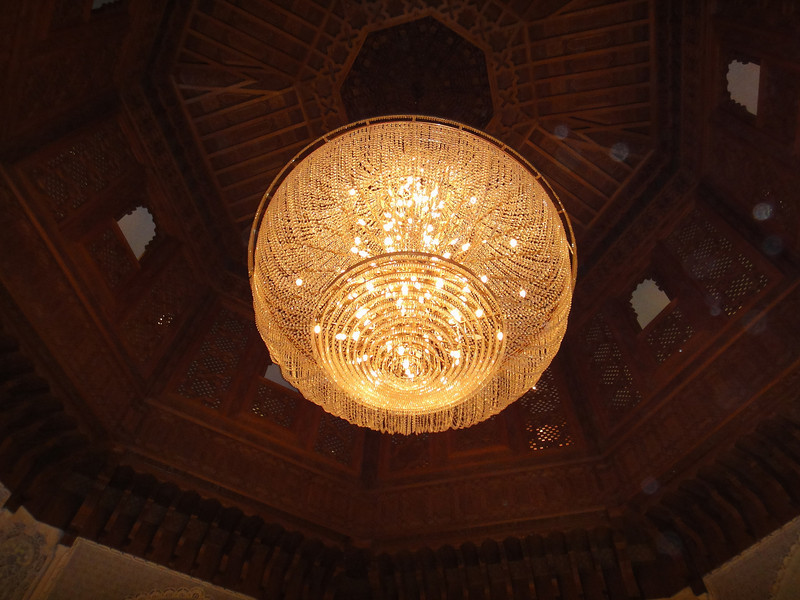 Chandalier in foyer area of Palmeraie Golf Palace, Marrakech.