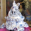 """This massive silver centerpiece, depicting the Duke on horseback, was used at great banquets.  Consuelo, the 9th duchess, used to call it her """"cache mari"""" (husband hider) because it blocked her view of her husband (whom she detested) from across the table."""