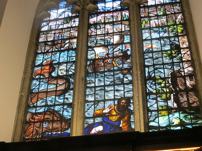 The main reason for visiting Univ was to see the chapel, especially the fabulous 17th century stained glass windows by Abraham van Linge.  This appears to be Jonah.