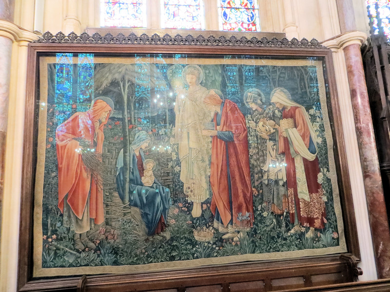 "The tapestry ""Adoration of the Magi,"" designed by Edward Burne-Jones and woven by William Morris.  This was one thing I really wanted to see in Oxford.  It is very beautiful but, because it's under glass, there was no way to get a decent picture of it."
