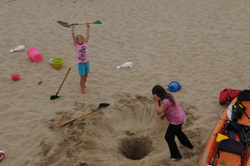 Jessie and Becca dug a deep hole