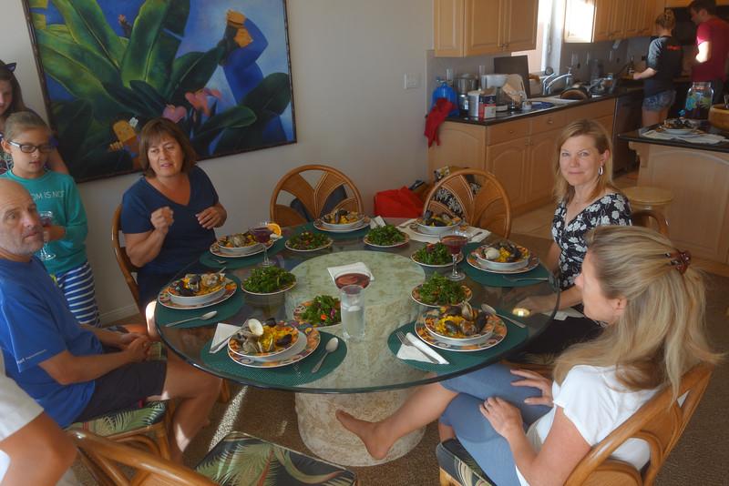 Paella, kale salad, sangria