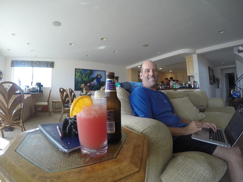 Robert enjoying two drinks!