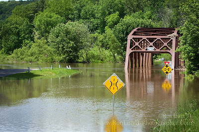 The banks of the Tionesta Creek are flooded and Nebraska Bridge is once again under water. This happens often, and it's not been unusual to find driftwood way up in the trusses on really wet years. Traditionally, when I've canoed down this stream, this is where I end the trip. On this excursion we left Teri's car in the parking lot, and then drove our jeep ~40 miles upstream. We parked as far uphill as possible!