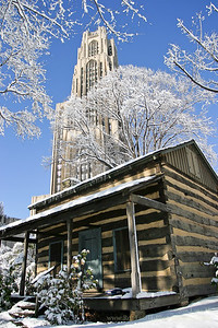 Settler's Cabin @ Pitt sitting below the Cathedral of Learning