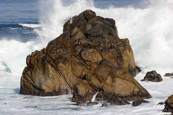 WAVES CRASHING ON ROCK AT POINT LOBOS