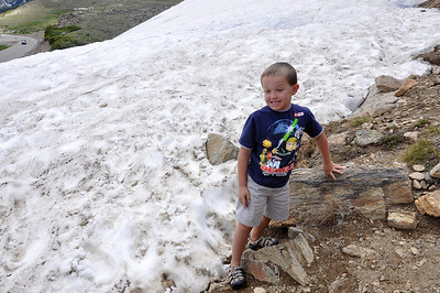 Jack checks out the snowpack at Loveland Pass.