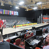 A collection of bowlers practice tonight.  Shown here is Mike Fagan.  This allows everyone to make sure things are working properly.  You can also see the production crew's area.  A lot goes into this.
