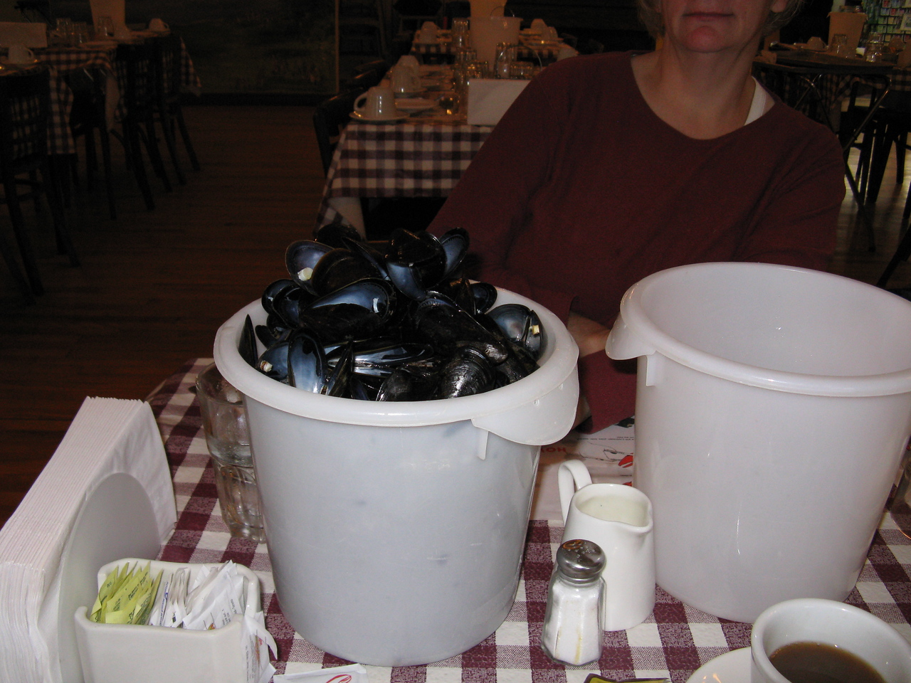 The New Glasgow lobster super - mussels, or at least their shells after we polished off a bucket.