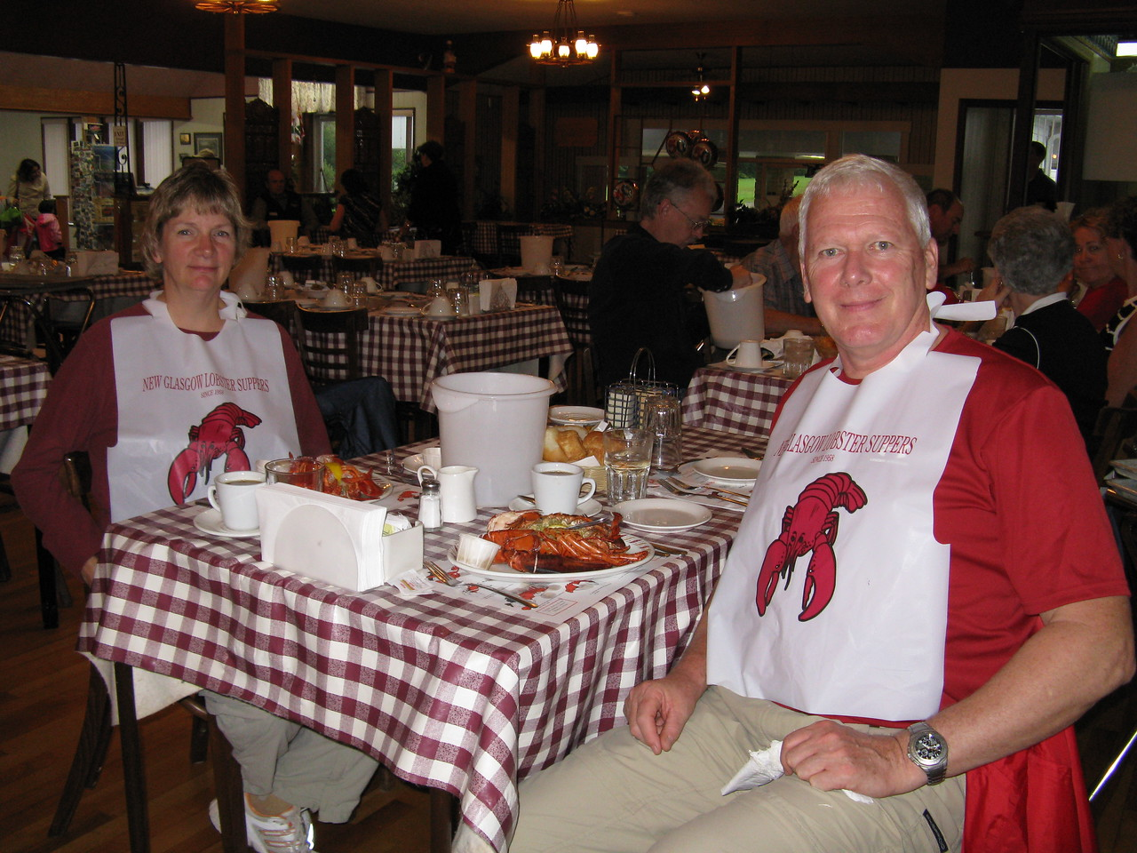 Lobster - and chowder, rolls, salad and all you can eat dessert. An excellent evening.