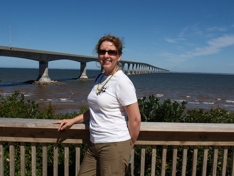 Andrea at the Confederation Bridge before we crssed onto PEI.