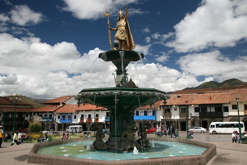 Inca statute of Tupac Amaru I, the last Inca king, in Cuzco's Plaza de Armas.