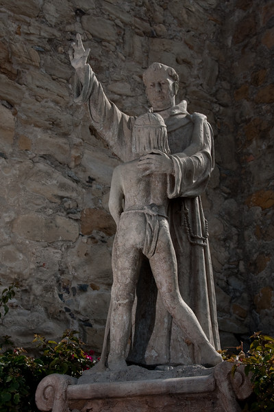 Junipero Serra statue shot with fill flash on left,dropped ambient.  Very HDR looking