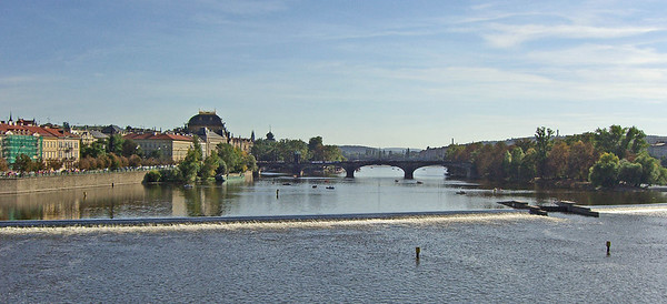 The Moldau looking south from Charles Bridge.