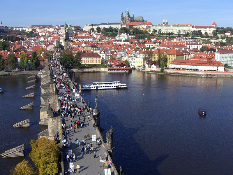 Charles Bridge looking west to Hradcany (Prague Castle) on top of the hill.