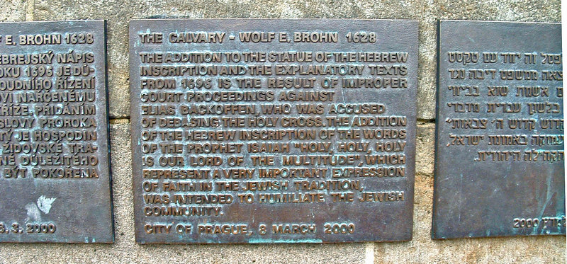Plaque placed by City describes the circumstances of Calvary and the Hebrew words.