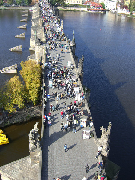Charles Bridge looking west. I lunched at the Hergetova Cihelna restaurant, top right.