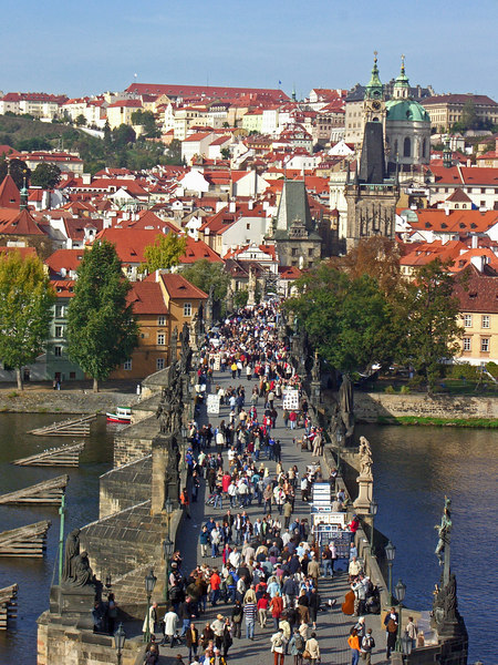 The west Bridge towers and St.Nicholas Church of Mala Strana (the Lesser Town).