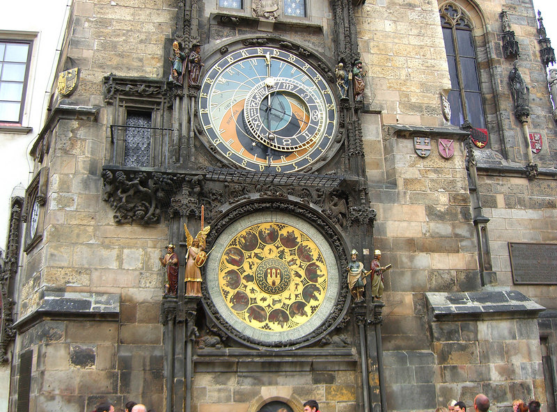Astronomical clock on lower (south) face of clocktower.