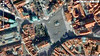 """Satellite view of Old Town Square courtesy Google Maps. Jan Hus Monument is the circle in the square. Distance from building face at top of square to bottom of square is 400 feet. Clocktower shadow marks left side of square.  <a href=""""http://www.google.com/intl/en_us/help/terms_maps.html"""">http://www.google.com/intl/en_us/help/terms_maps.html</a>"""