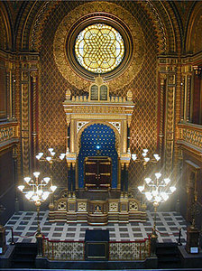 Interior view courtesy Radio Prague website. http://www.radio.cz/en/html/prague1_synagoga.html