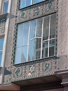Details on Maiselova Street building facade.