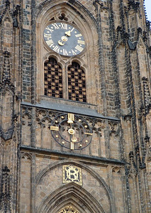 There are two clocks: the upper one shows only the hours; the lower one shows only the minutes.