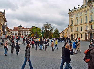 At the castle forecourt. Milos Forman filmed much of Amadeus in front of and in the buildings in the background.