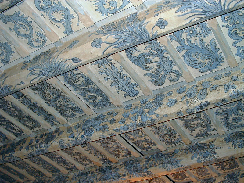 An original Czech painted wood ceiling in a coffee shop in Lesser Town (Mala Strana).