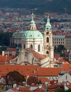 St. Nicholas Church of Lesser Town. High Baroque. Here come da sun.
