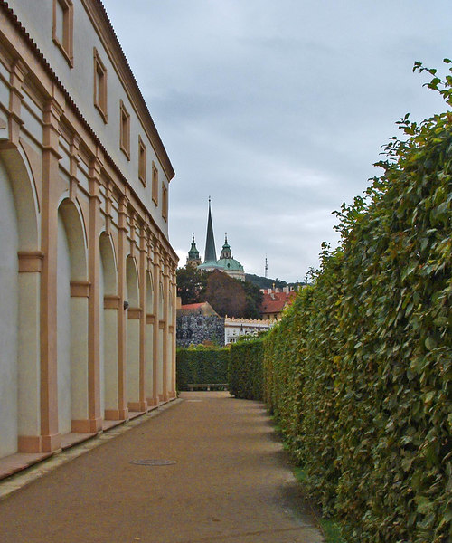 Entering Wallenstein Palace and gardens.
