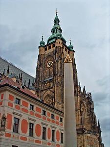 St. Vitas exterior and clocktower.
