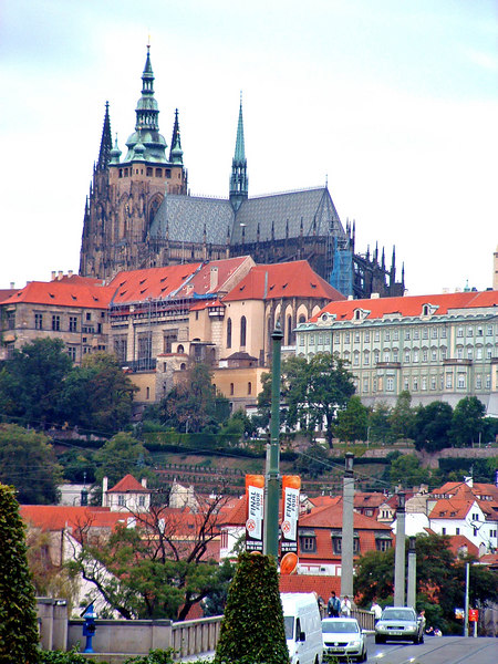 Hradcany—the Prague Castle and St. Vitas Cathedral—is the goal of this walk on my first full (and a very cold and gray) day in Prague.