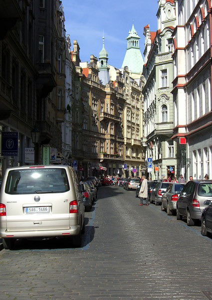Maiselova St. in the Jewish Quarter. Location 6 on satellite photo.