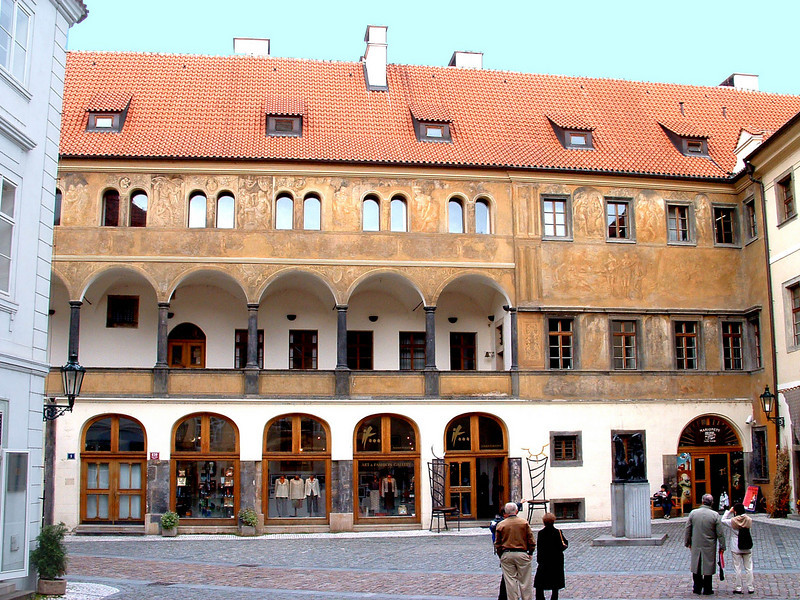 "This is a quite old Renaissance building in the Ungelt courtyard. The ""gelt"" part of the name comes from the money-changing that was centered here. Location 12 on satellite photo."